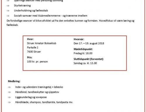 Træningsweekend Struer—Lemvig—Ulfborg—Rindum Bokseklub